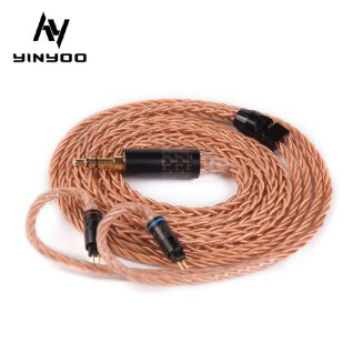 Yinyoo 8 Core Upgraded High-end Single Crystal Copper Cable 2.5/3.5/4.4MM With MMCX/2PIN Connector For KZ ZS10 AS10 BLON BL-03
