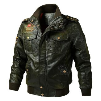 Autumn Spring Winter Faux Leather Jacket Men Windproof Outwear Military Army Pilot Bomber PU Leather Jacket Coat 6XL Motorcycle