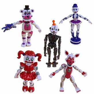 Hot 5 Pcs/set Five Nights At Freddy's Game FNAF Figure Funtime Freddy Foxy Sister Location Lightening Movable Joint Gift Toys
