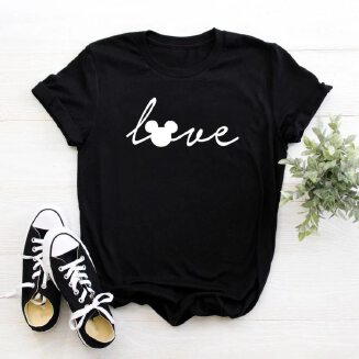 Love mouse Cartoon Cute Women tshirt Casual Funny t shirt For Lady Girl Top Tee Hipster Female Clothes
