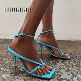2020 Summer Women Sandals High Heels Shoes Fall Best Street Look Females Square Head Open Toe Clip-On Strappy Sandals Women