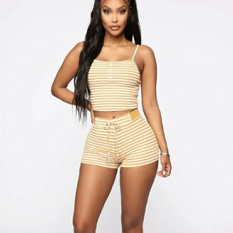 2PCS Women Sleepwear Summer Casual Bodycon Striped Crop Top and Shorts Outfits Clothes Sport Pajama Sets