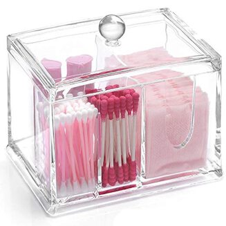 SZanbana 4 Sections Transparent Acrylic Makeup Organizer Q tips Cotton Swab Holder Cleaning Pad Holder & Swab Storage Canisters